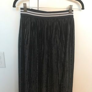 ZARA Black suede midi skirt
